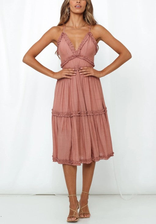 Dani Ruffled Midi Dress (Rose)