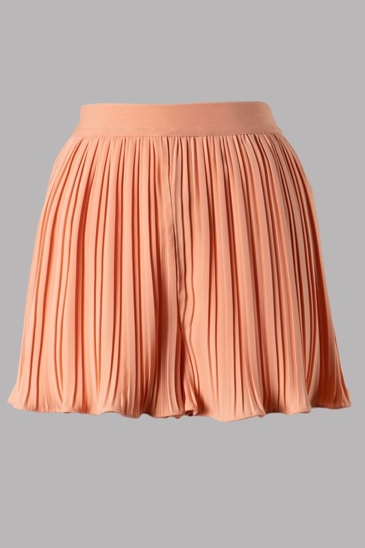 Pleated High Rise Shorts (Cantaloupe)