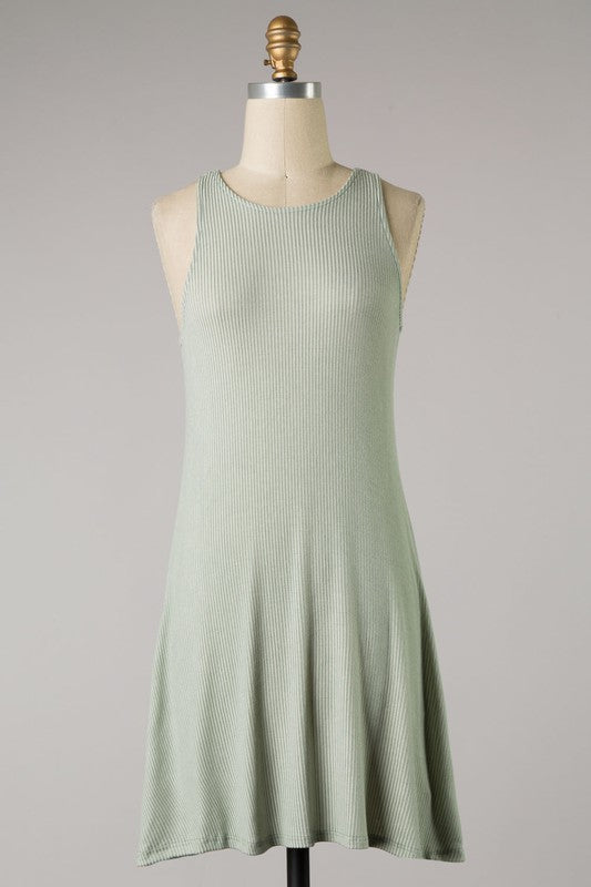 Ribbed Knit High Neck Dress (Mint)