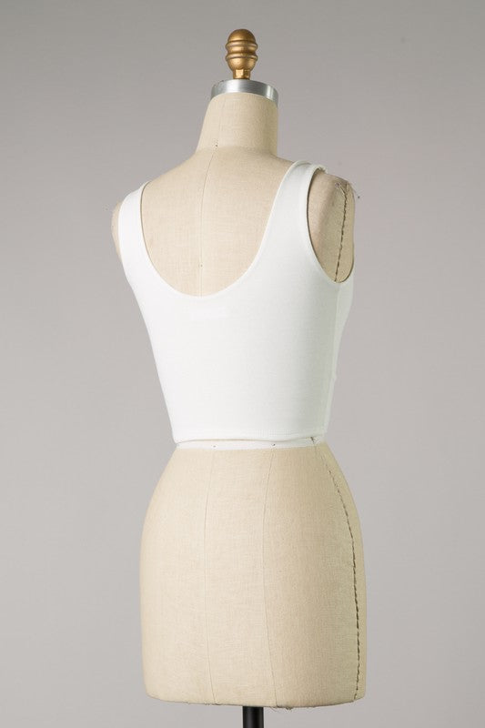 Solid Crop with Slit Detail (Ivory)