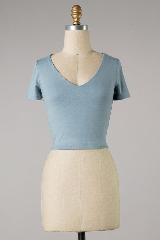 Short Sleeve V Cut Crop Top (Dusty Blue)