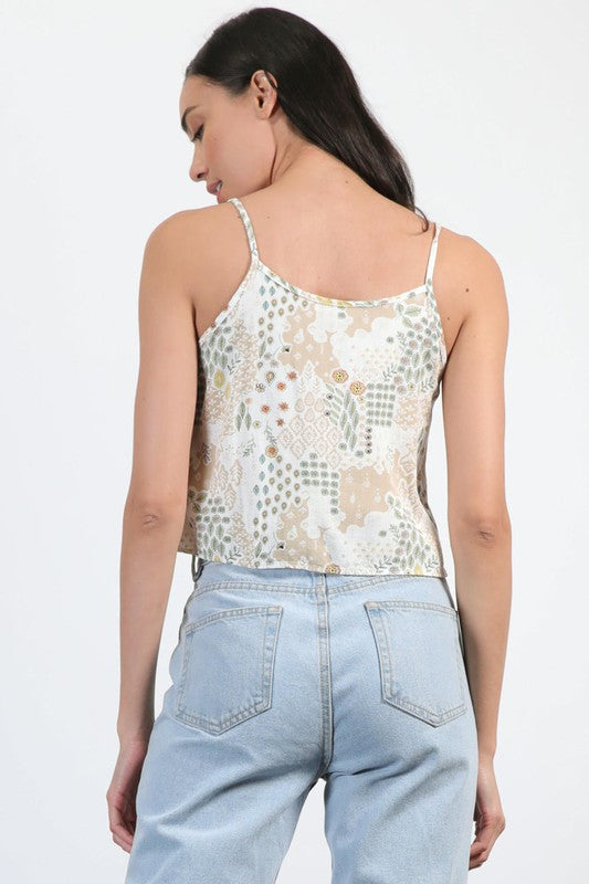 Floral Mixed Print Skimmer Top (Stone)