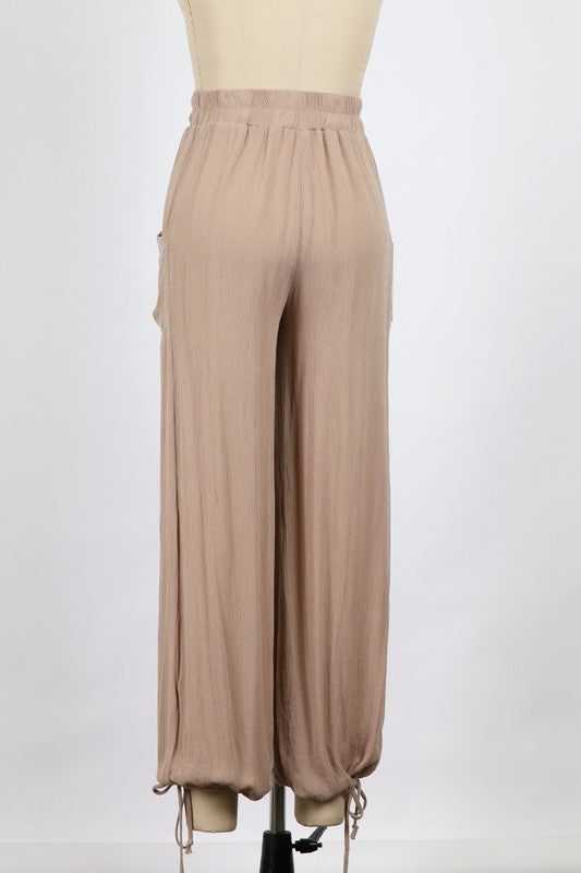 Gauze Patch Pocket Tie Bottom Pants (Taupe)