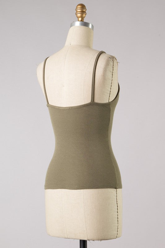 Ribbed Bodycon Tank (Olive)