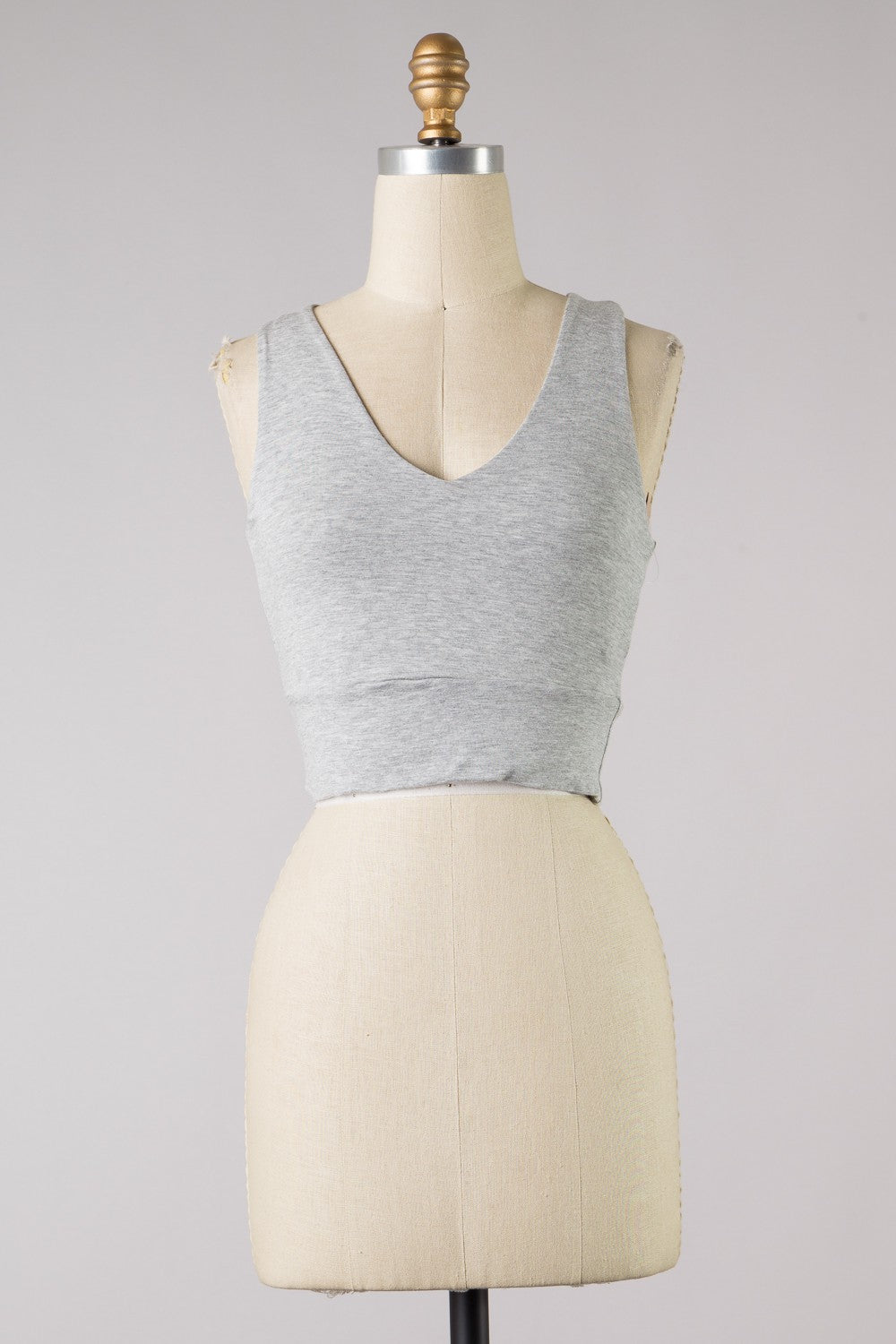 Thick Strap VNeck Crop (Grey)