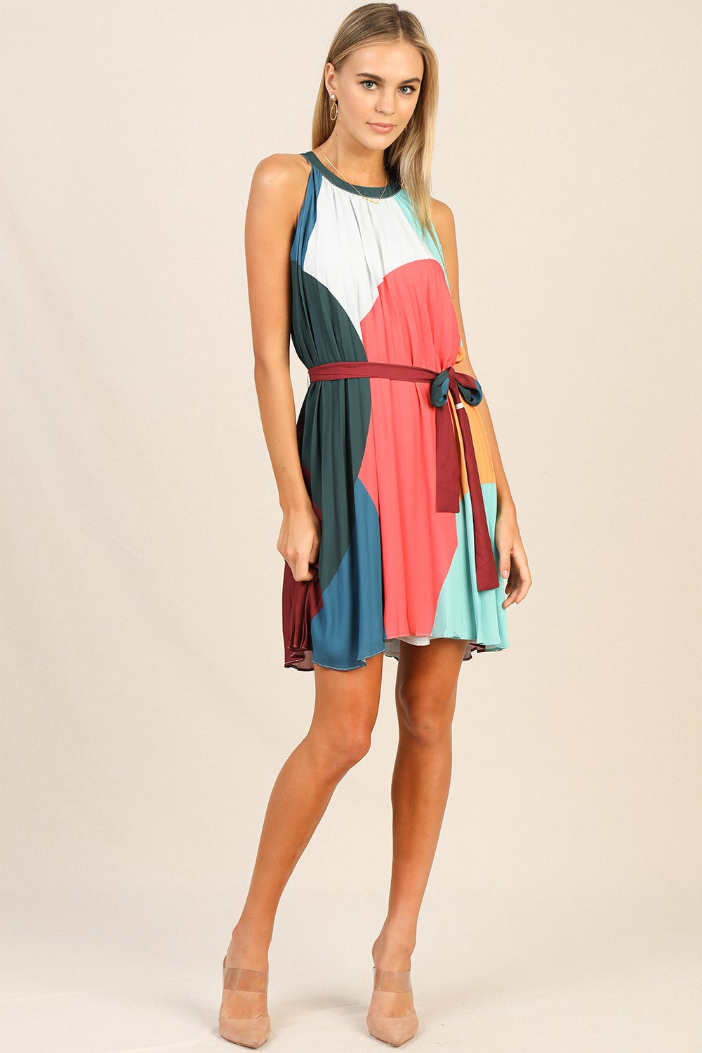 Multi Colored Pleated High Neck Dress (Burg)