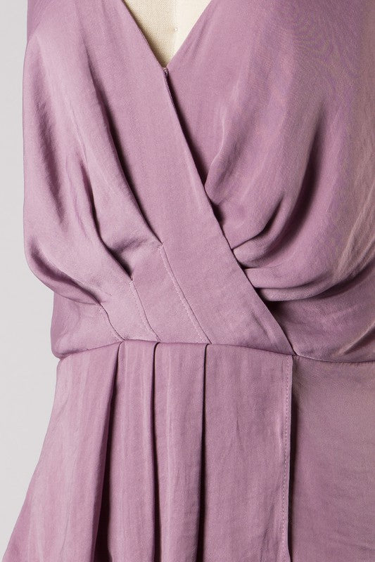 Pleated Surplice Tank (Purple Dove)