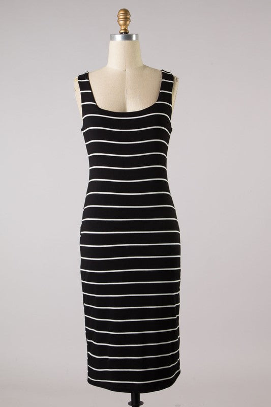 Sleeveless Striped Fitted Dress (Black/Ivory)