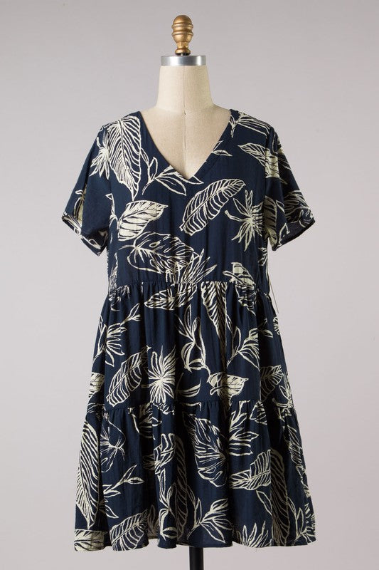 Tropical Short Sleeve Shift Dress (Navy)