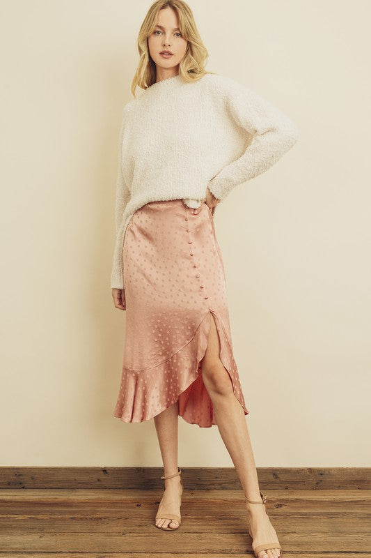 Satin Dotted Midi Skirt (Rose)