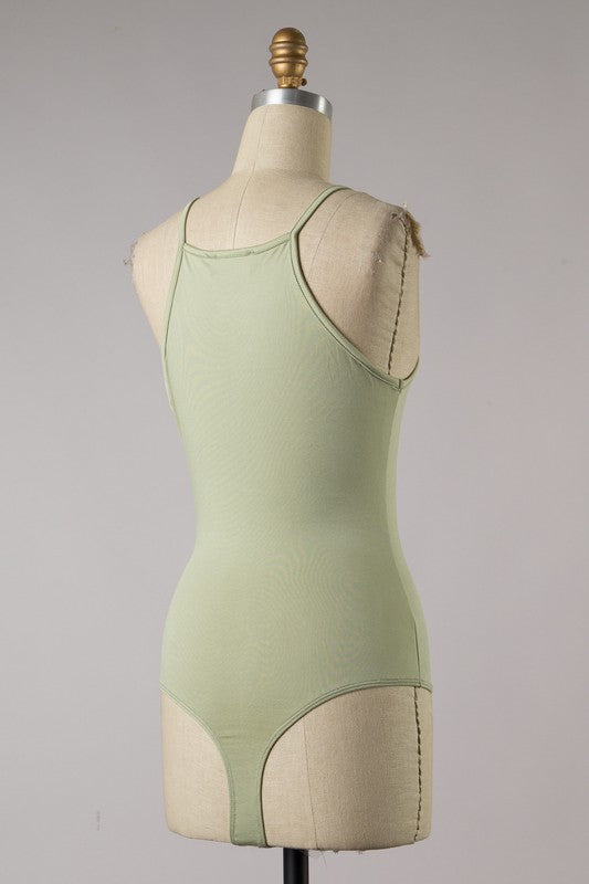 High Neck Basic Bodysuit (Sage)