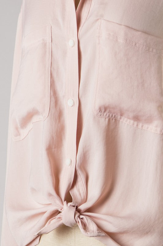 Button Down Woven Blouse (Blush)