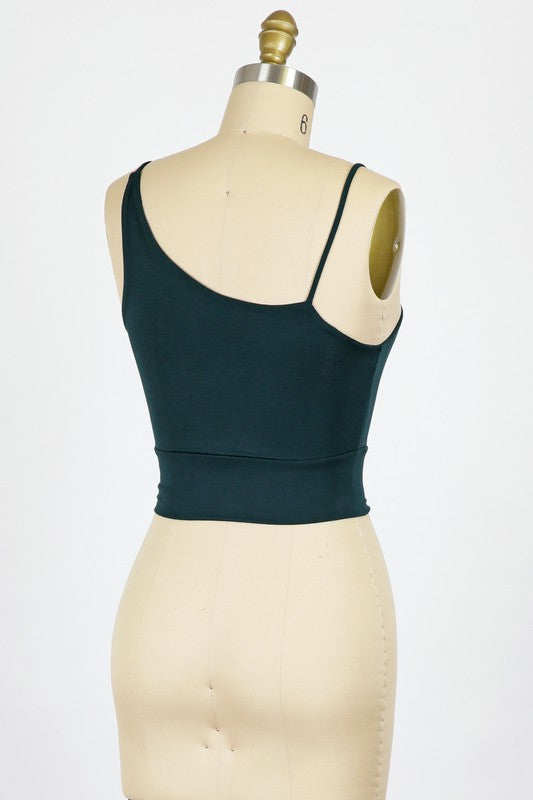 Cropped Asymmetrical Straps (Hunter Green)