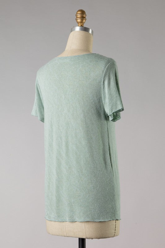Two Tone Knit Short Sleeve (Sage)