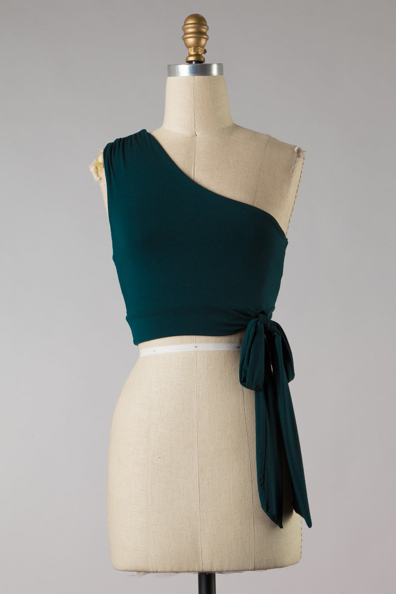 One Shoulder Side Knot Crop (Hunter)