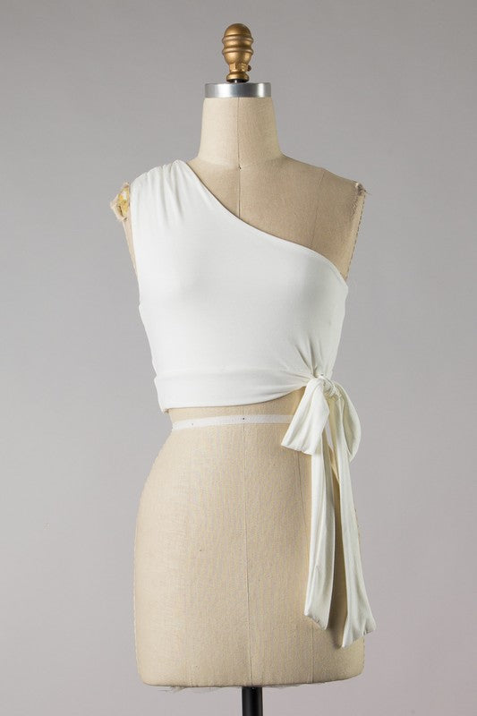 One Shoulder Side Knot Crop (Ivory)