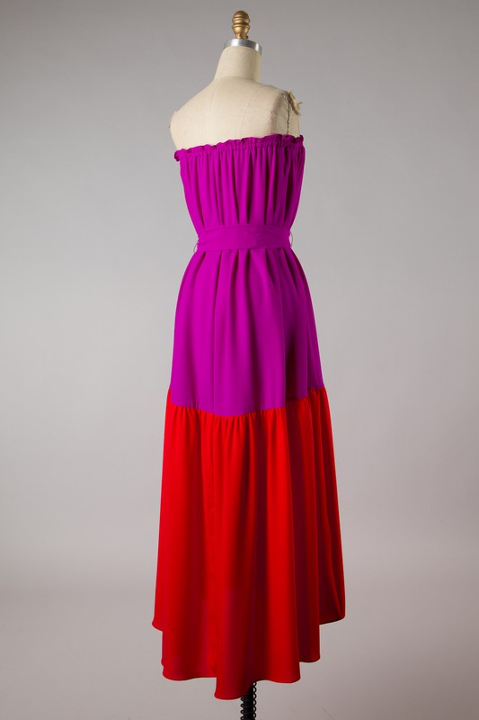 Color Block Tube Midi Dress (Fuchsia)