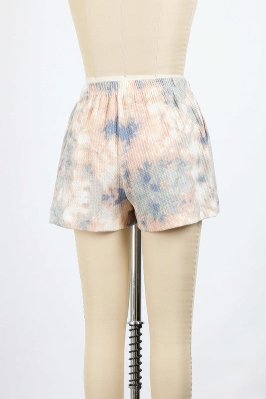 Thermal Tie Dye Sweat Shorts (Peach)