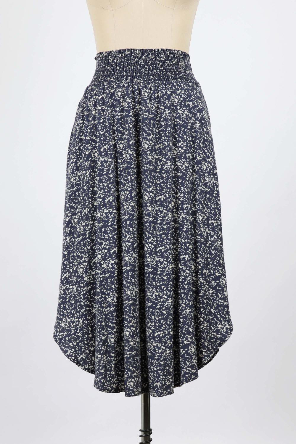 Splash Printed Slub Skirt (Navy)