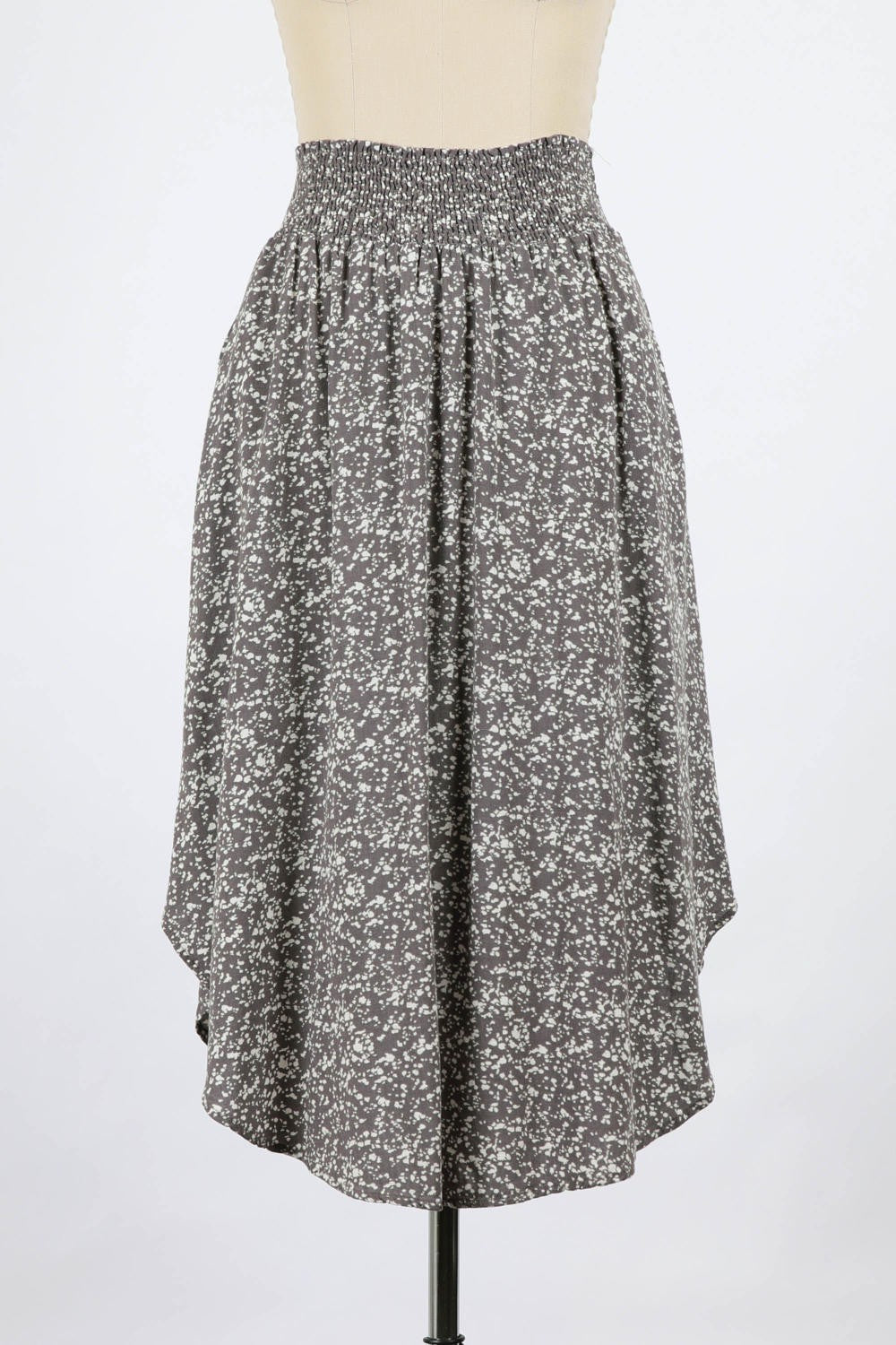 Splash Printed Slub Skirt (Grey)