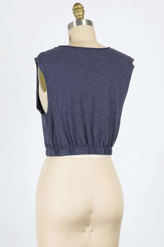 Modal Slub Muscle Crop (Navy)