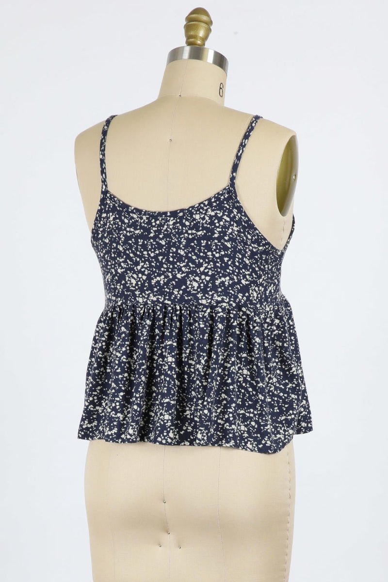 Splash Printed Slub Crop (Navy)