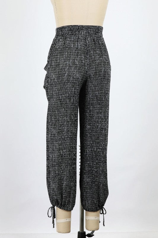 Gauze DIAMOND Print Pants (Black)