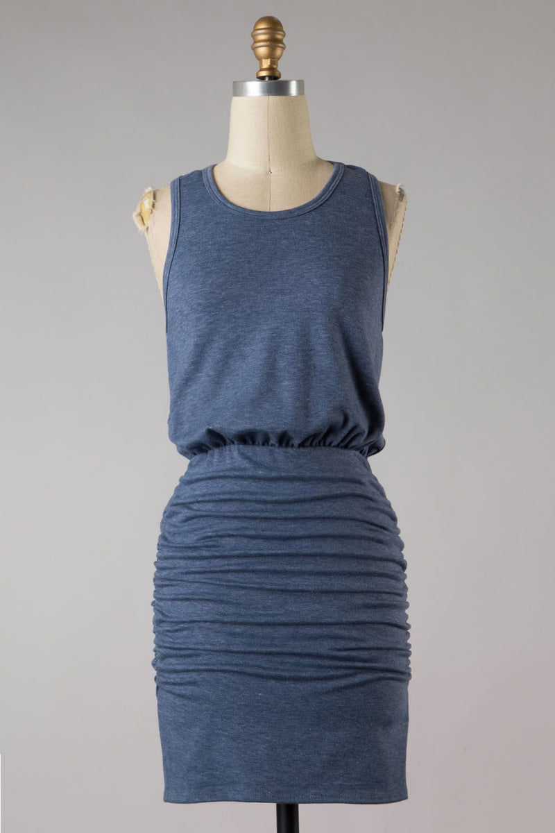 Shirred Side Dress (Blue)