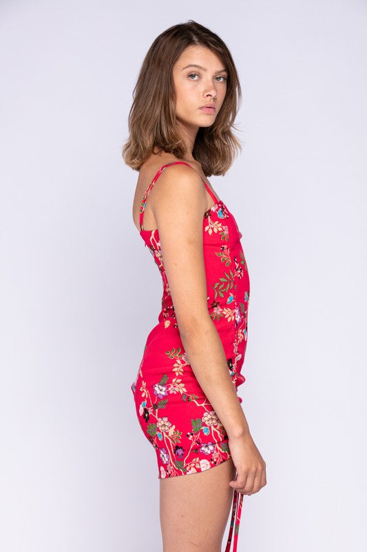Tunnel Side Tie Mini Dress (Red Floral)