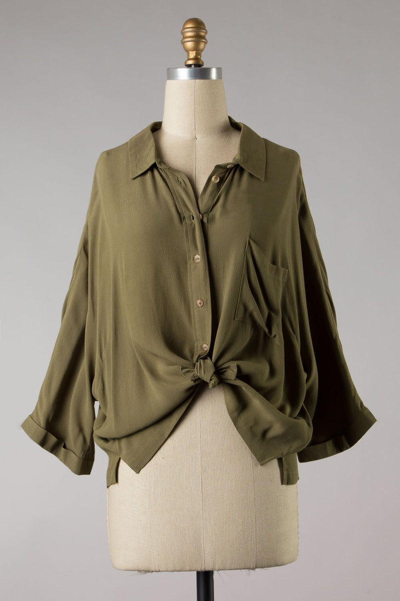 Tencel 3/4 Sleeve Button Down (Olive)