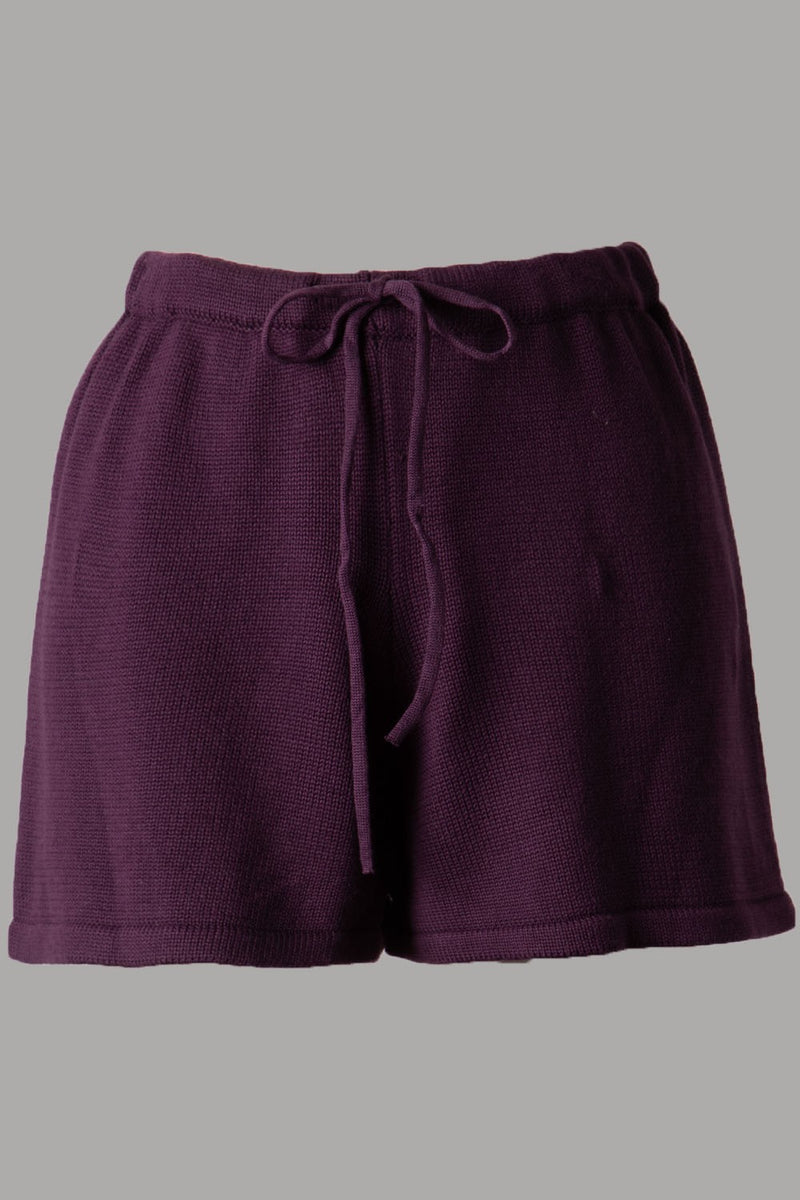 Soft Ribbed Knit Short (Plum)