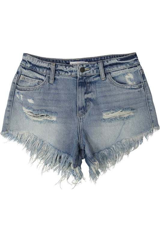 Mid Rise Fringe Hem Shorts (Light)