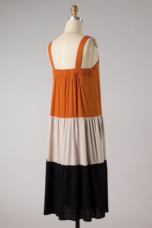 Color Block Shift Dress (Toffee/Taupe)