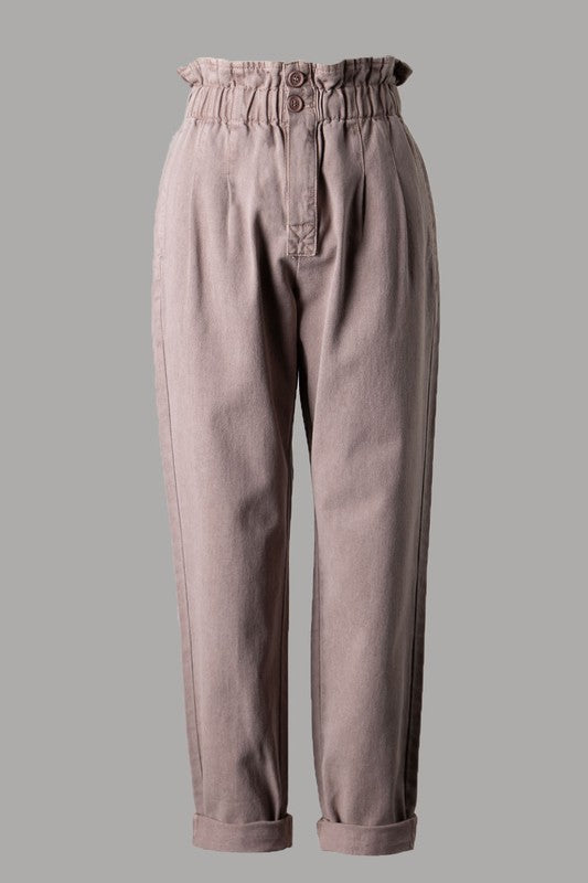 Paper Bag Cuffed Pants (Dusty Lilac)