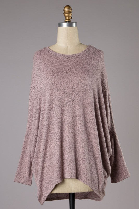 Brooke Dolman Brushed Knit (Mauve)