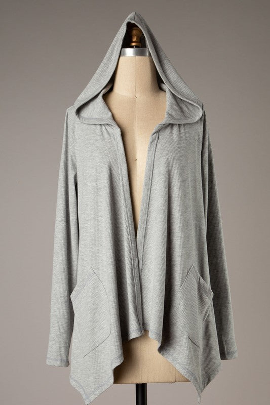 Hooded Light Weight Cardigan (Heather Grey)