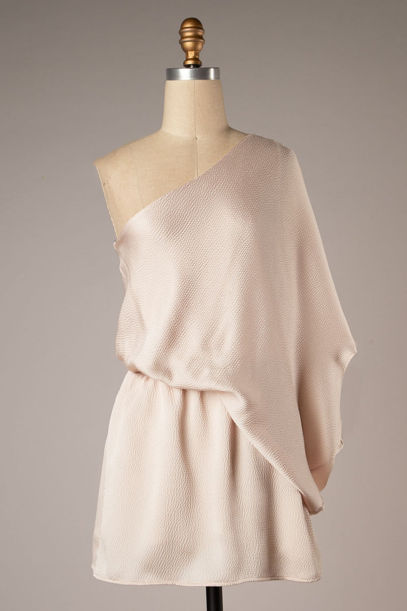 One Shoulder Satin Dress (Champagne)