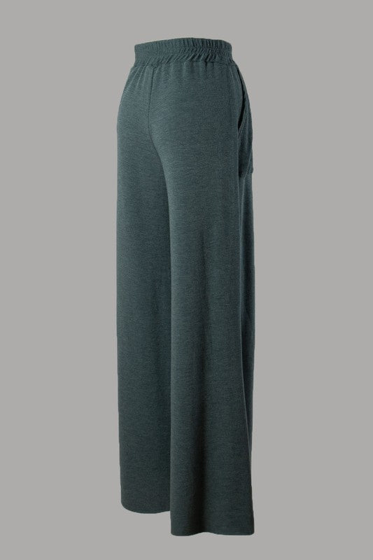 French Terry Palazzo Pants (Teal)