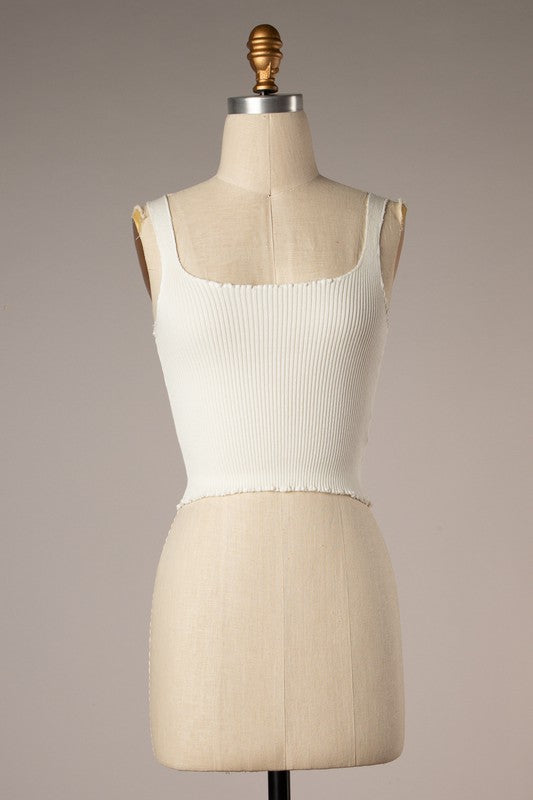Lettuce Hem Ribbed Crop (White)