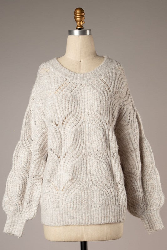 Sharon Light Cable Knit Sweater (Heather Grey)