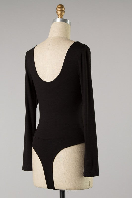 Swoop Back Long Sleeve Bodysuit (Black)