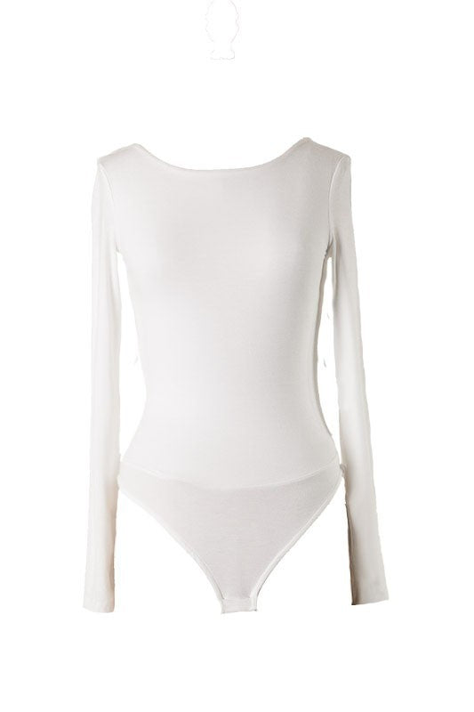 Swoop Back Long Sleeve Bodysuit (Ivory)