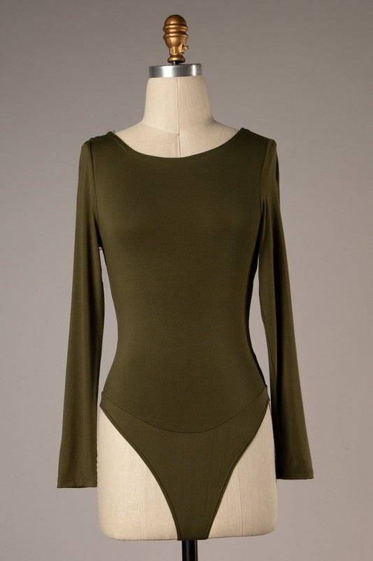 Swoop Back Long Sleeve Bodysuit (Olive)