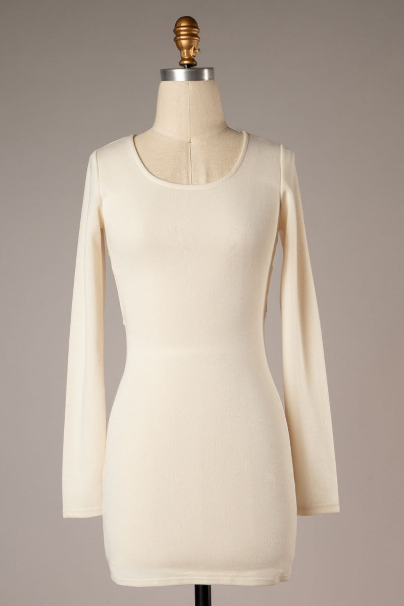 Crossover Back Detail Knit Tunic (Ivory)