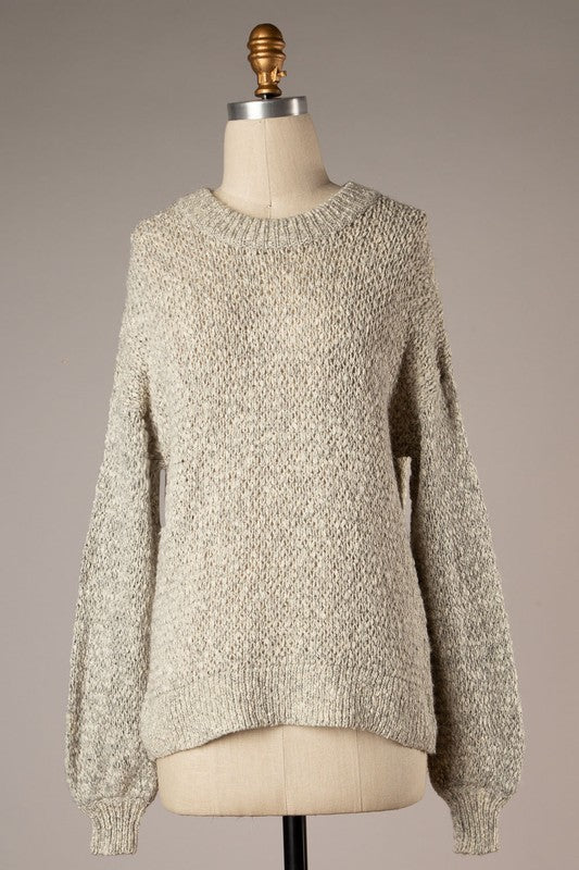 Bubble Sleeve Two Toned Sweater (Grey)