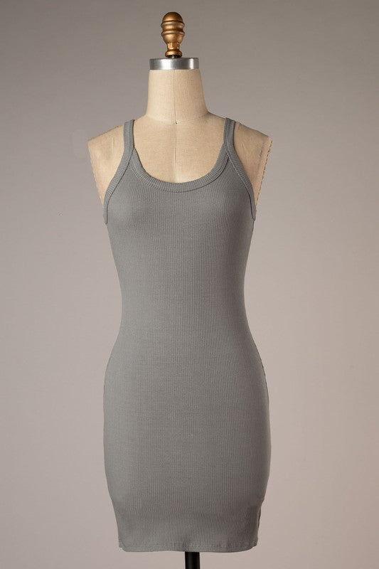 Emily Ribbed Bodycon Dress (Charcoal)
