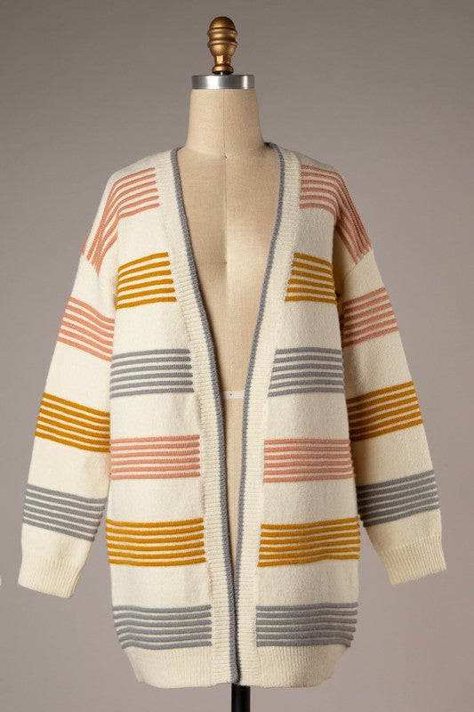 Open Front Ribbed Knit Cardigan (Ivory)