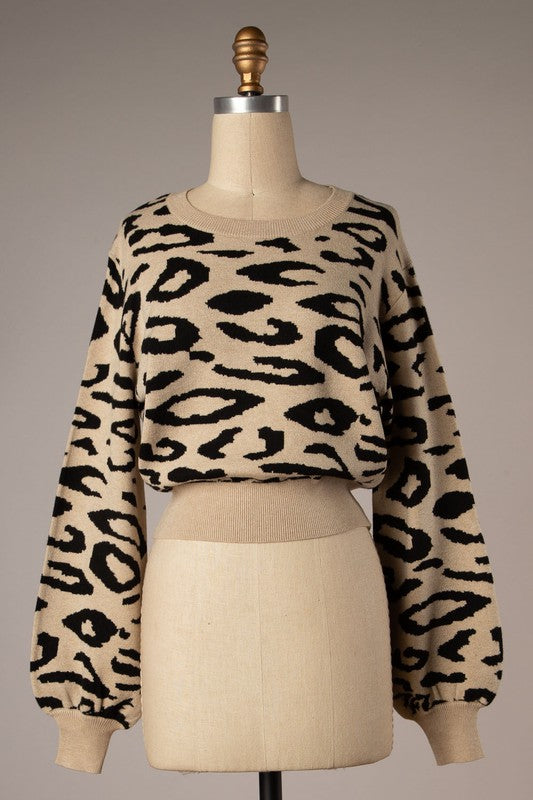 Puff Sleeve Sweater (Animal)