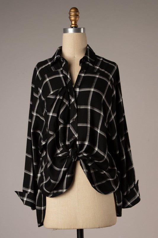 Kris Plaid Button Down (Black)