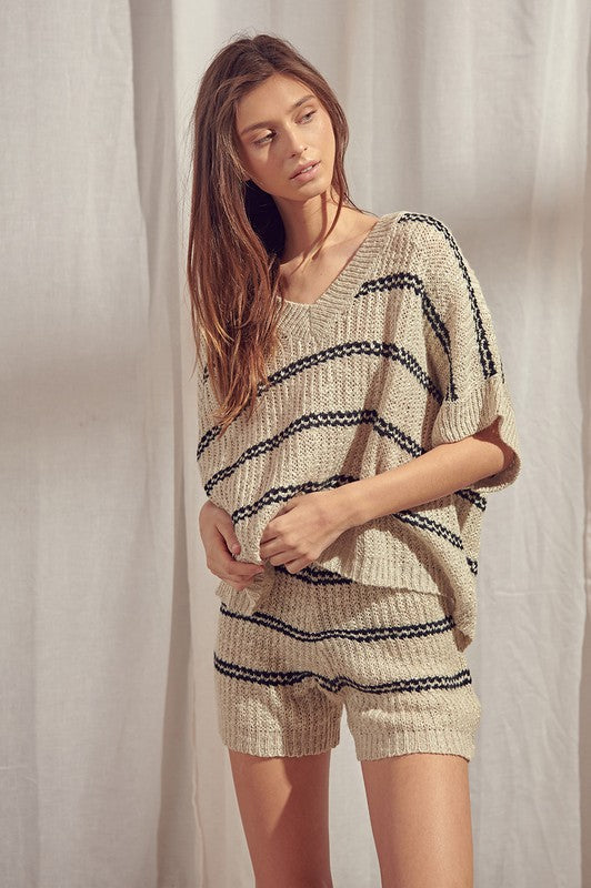 Striped Knit Slouchy Sweater (Taupe)